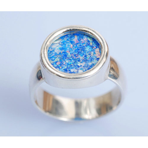 Sterling Silver Roman Glass Circle Ring 2 - Baltinester Jewelry