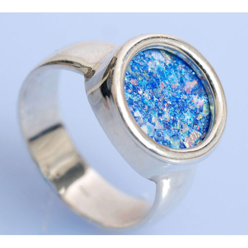 Sterling Silver Roman Glass Circle Ring 3 - Baltinester Jewelry