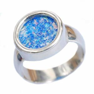 Sterling Silver Roman Glass Circle Ring - Baltinester Jewelry
