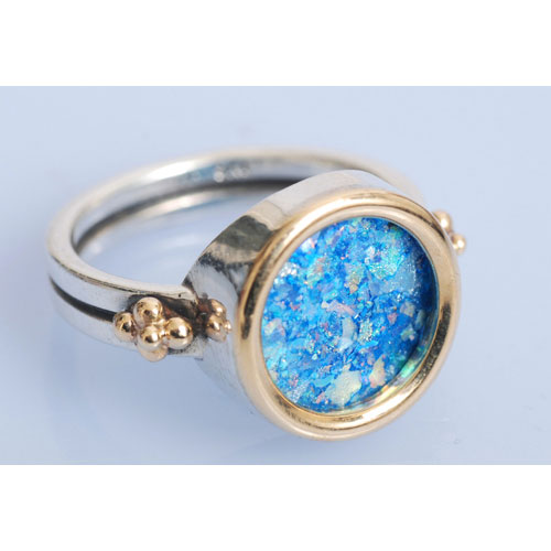 Silver and Gold Roman Glass Circle Ring 3 - Baltinester Jewelry