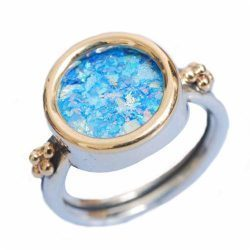 Silver and Gold Roman Glass Circle Ring - Baltinester Jewelry