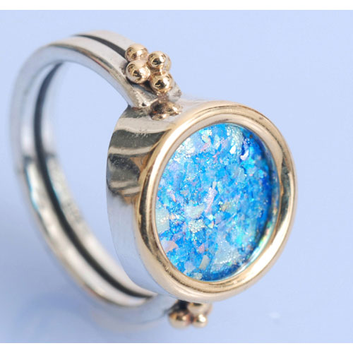 Silver and Gold Roman Glass Circle Ring 2 - Baltinester Jewelry
