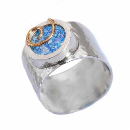 Gold Swirl Silver Roman Glass Ring - Baltinester Jewelry