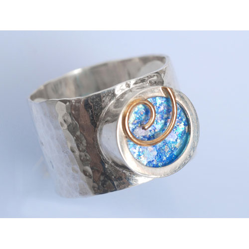 Gold Swirl Silver Roman Glass Ring 2 - Baltinester Jewelry