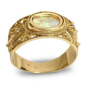 14k Gold Roman Glass Filigree Ring - Baltinester Jewelry