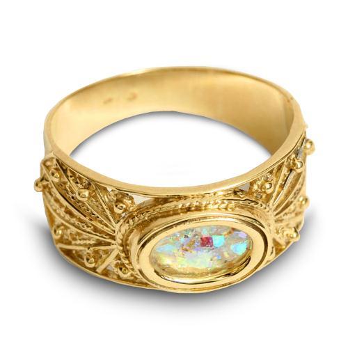 14k Gold Roman Glass Filigree Ring 2 - Baltinester Jewelry