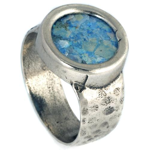 Silver Hammered & Smooth Roman Glass Ring - Baltinester Jewelry