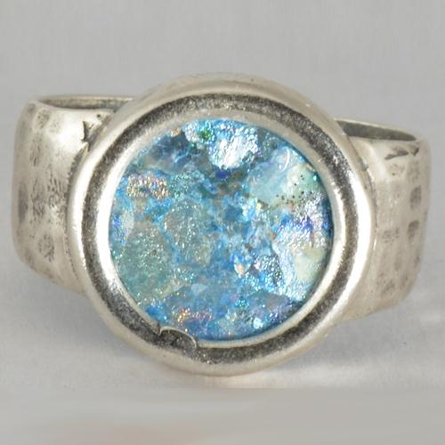 Silver Hammered & Smooth Roman Glass Ring 2 - Baltinester Jewelry