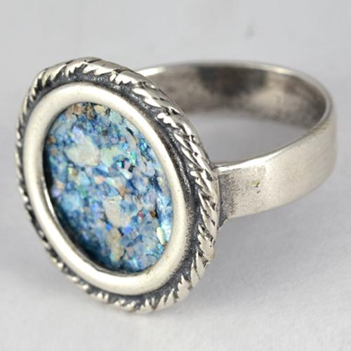 Silver Roman Glass Rope Frame Circular Ring 2 - Baltinester Jewelry