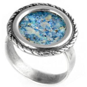 Silver Roman Glass Rope Frame Circular Ring - Baltinester Jewelry