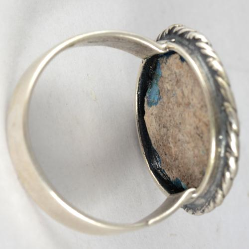 Silver Roman Glass Rope Frame Circular Ring 3 - Baltinester Jewelry