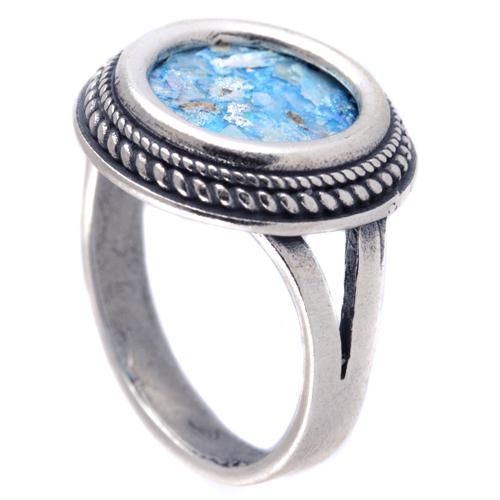Thin Rope Frame Silver Roman Glass Ring - Baltinester Jewelry