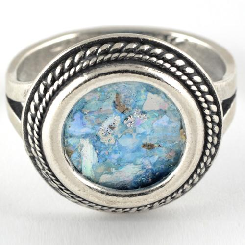 Thin Rope Frame Silver Roman Glass Ring 2 - Baltinester Jewelry
