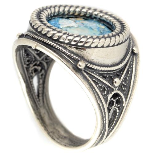 Silver Roman Glass Rope Frame Ring - Baltinester Jewelry