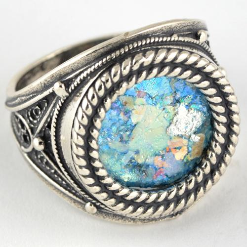 Silver Roman Glass Rope Frame Ring 3 - Baltinester Jewelry