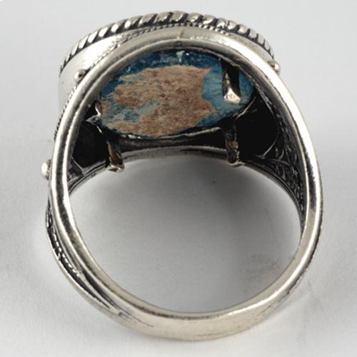 Silver Roman Glass Rope Frame Ring 4 - Baltinester Jewelry