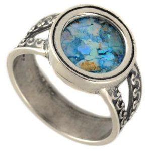 Silver Split Band Roman Glass Ring - Baltinester Jewelry