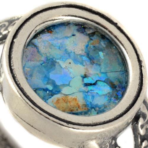 Silver Split Band Roman Glass Ring 3 - Baltinester Jewelry