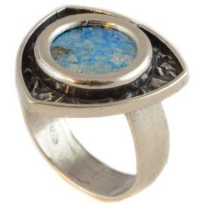 Silver Unique Shape Roman Glass Ring - Baltinester Jewelry