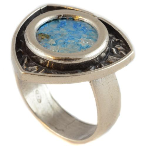 Silver Unique Shape Roman Glass Ring - Baltinester Jewelry