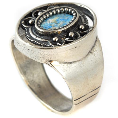 Silver Roman Glass Ornate Ring - Baltinester Jewelry
