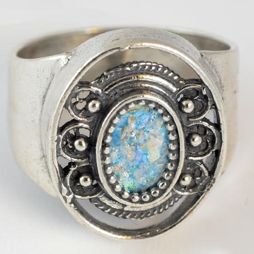 Silver Roman Glass Ornate Ring 2 - Baltinester Jewelry