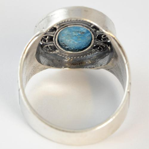 Silver Roman Glass Ornate Ring 3 - Baltinester Jewelry