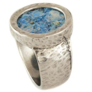 Silver Hammered Roman Glass Ring - Baltinester Jewelry