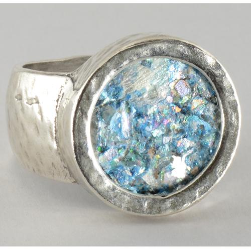 Silver Hammered Roman Glass Ring 2 - Baltinester Jewelry