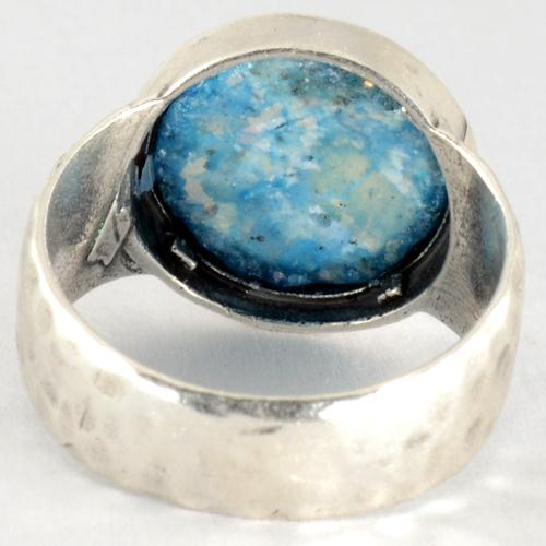 Silver Hammered Roman Glass Ring 3 - Baltinester Jewelry