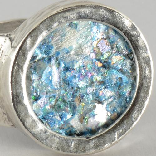 Silver Hammered Roman Glass Ring 4 - Baltinester Jewelry