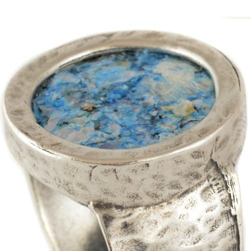 Silver Hammered Roman Glass Ring 5 - Baltinester Jewelry