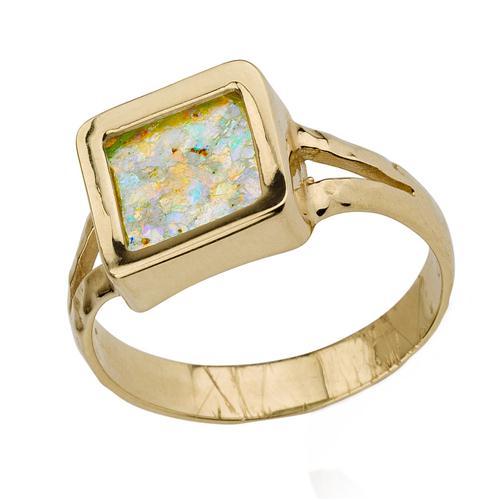 14k Yellow Gold Roman Glass Square Ring - Baltinester Jewelry