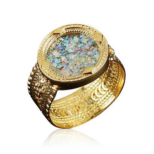 Ethnic Style 14k Gold Roman Glass Ring - Baltinester Jewelry