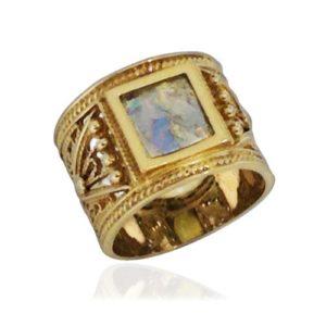 14k Gold Square Roman Glass Ring - Baltinester Jewelry