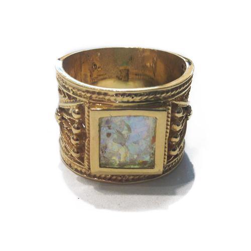 14k Gold Square Roman Glass Ring 2 - Baltinester Jewelry