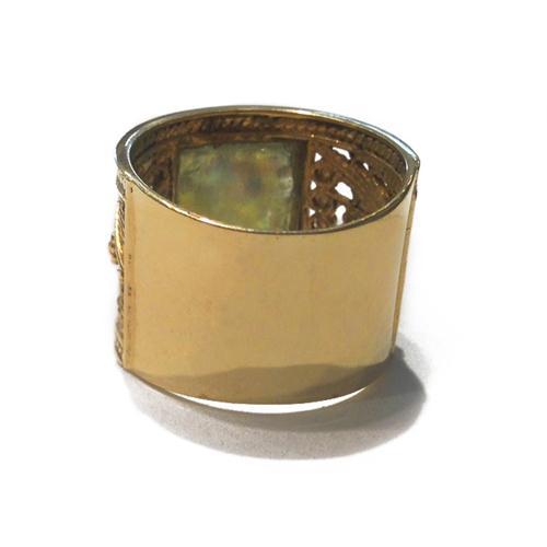 14k Gold Square Roman Glass Ring 4 - Baltinester Jewelry