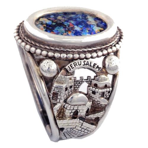 Jerusalem Silver Roman Glass Ring - Baltinester Jewelry