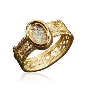 14k Gold Yemenite Style Roman Glass Ring - Baltinester Jewelry