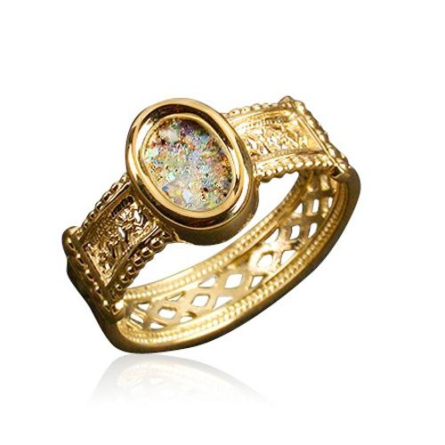 14k Gold Yemenite Style Roman Glass Ring - Baltinester Jewelry