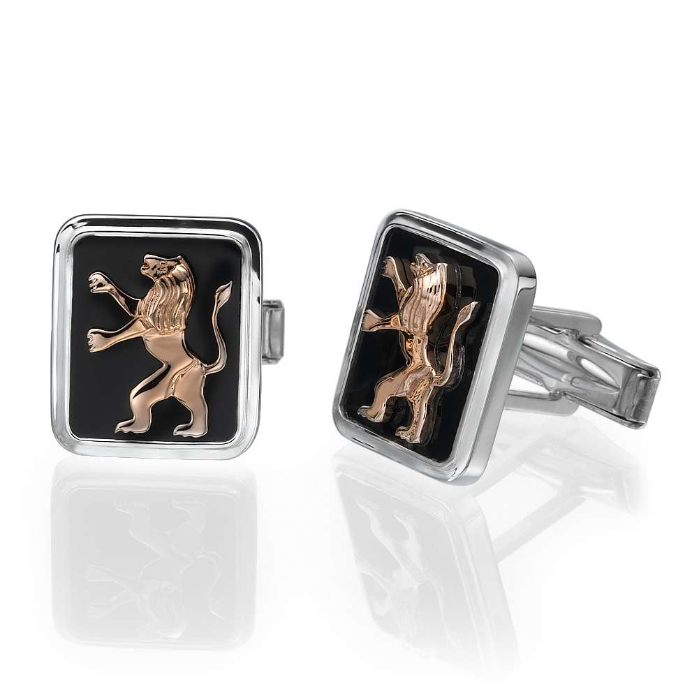 14k Gold Lion of Judah Silver and Onyx Cufflinks - Rose Gold - Baltinester Jewelry