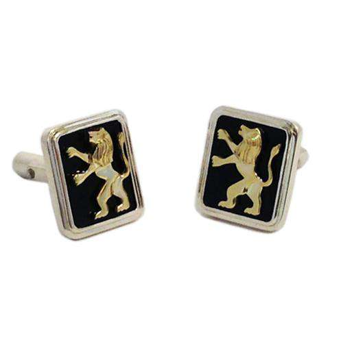 14k Gold Lion of Judah Silver and Onyx Cufflinks - Yellow Gold - Baltinester Jewelry