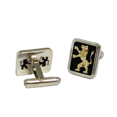 14k Gold Lion of Judah Silver and Onyx Cufflinks 2 - Baltinester Jewelry