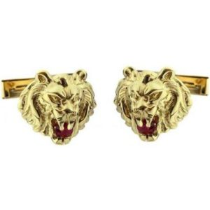 14k Gold Lion of Judah Ruby Cufflinks - Baltinester Jewelry