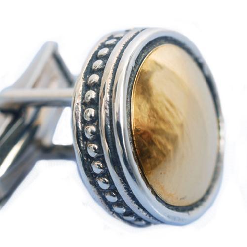 Silver & Gold Ethnic Round Cufflinks 2 - Baltinester Jewelry