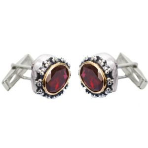Silver & Gold Garnet Cufflinks - Baltinester Jewelry