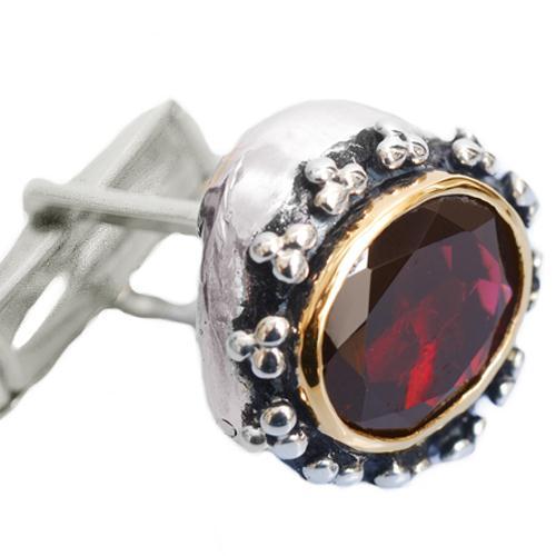 Silver & Gold Garnet Cufflinks 2 - Baltinester Jewelry