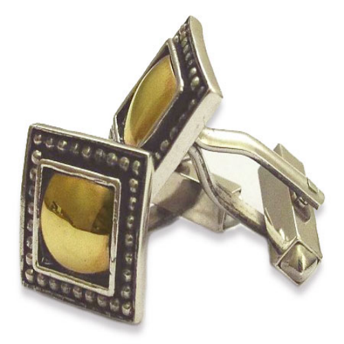 Silver and Gold Square Cufflinks - Baltinester Jewelry