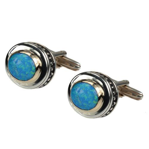 Silver & Gold Opalite Cufflinks - Baltinester Jewelry