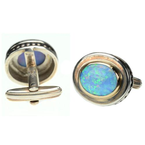 Silver & Gold Opalite Cufflinks 2 - Baltinester Jewelry